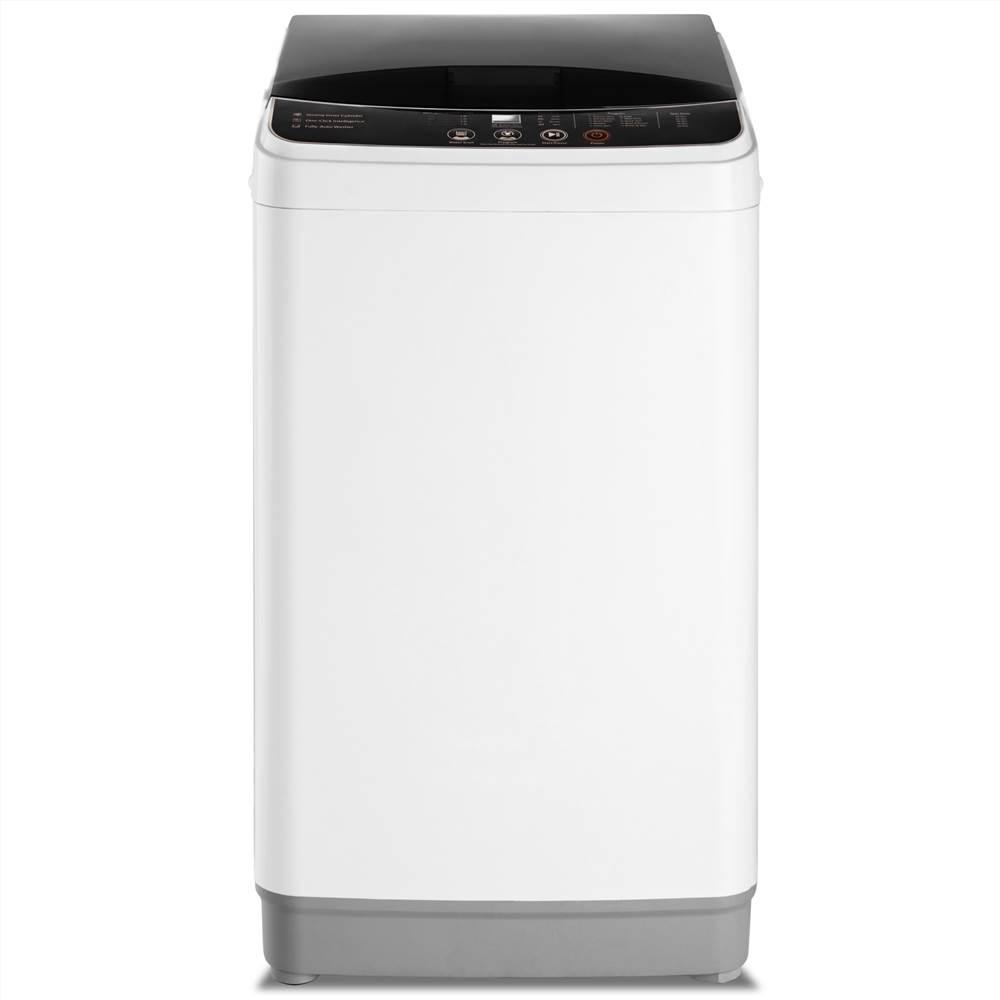 Hordozható teljesen automatikus mosógép 8 vízszint üzemmód 10 mosási program maximális kapacitás 8LBS, családok, hálótermek, lakások, lakóautók számára - fehér