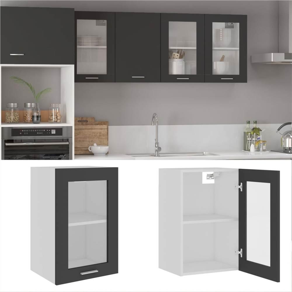 Hanging Glass Cabinet Grey 40x31x60 cm Chipboard