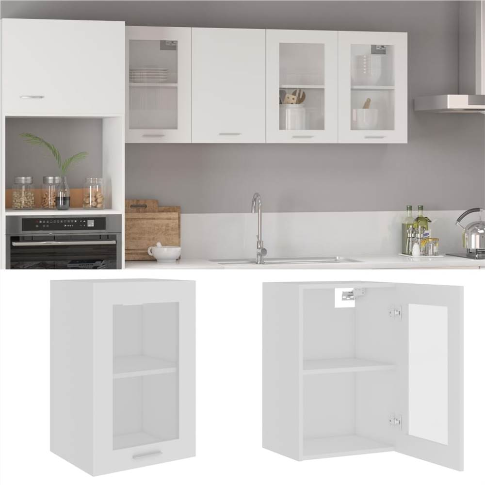 Hanging Glass Cabinet White 40x31x60 cm Chipboard