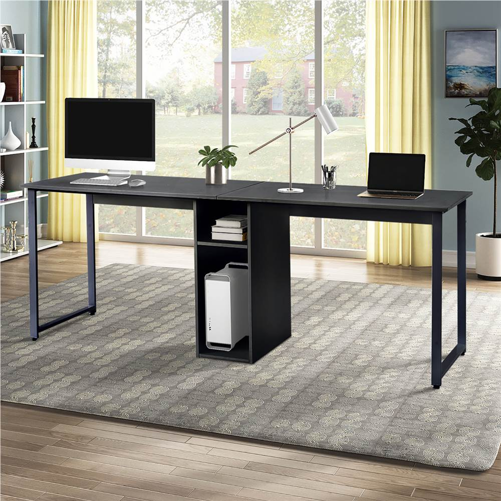 Home Office Dual Person Computer Desk with Two-layer Shelf and Wire Management Grommet - Black