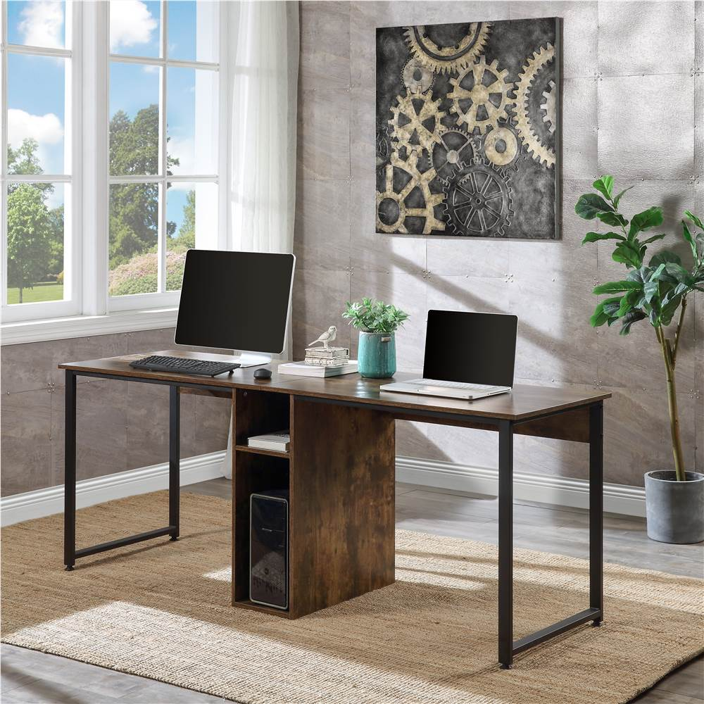 Home Office Dual Person Computer Desk with Two-layer Shelf and Wire Management Grommet - Brown
