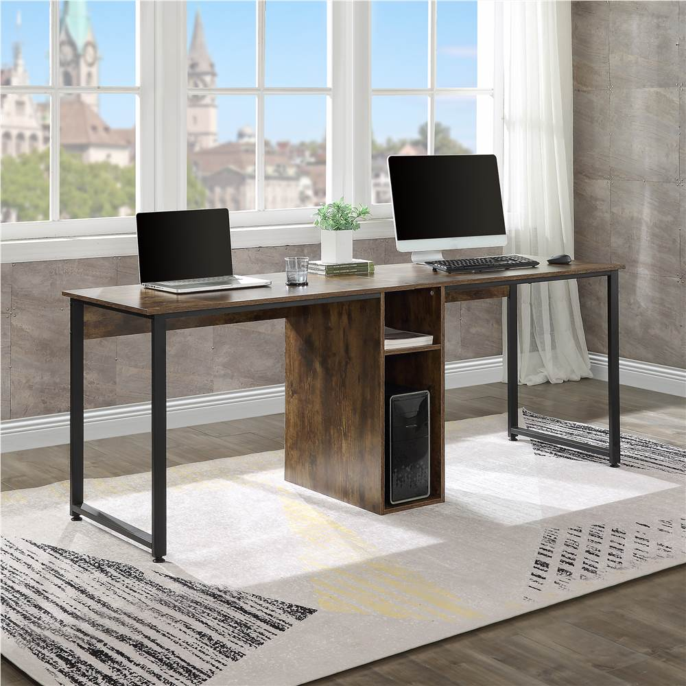 Home Office Dual Person Computer Desk with Two-layer Shelf and Wire Management Grommet - Tiger