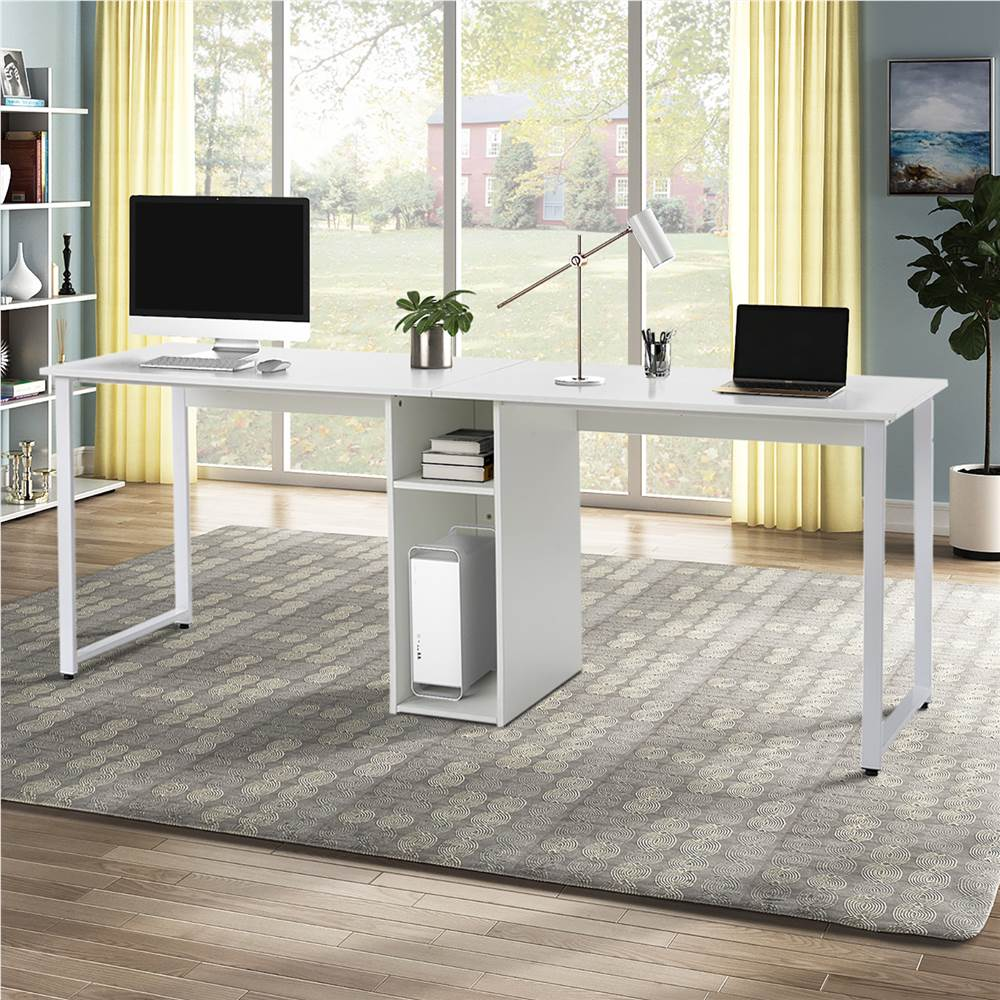 Home Office Dual Person Computer Desk With Wire Management White