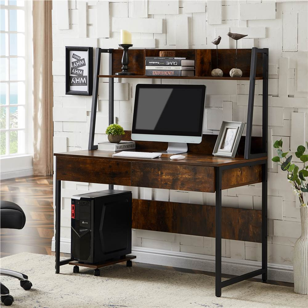 Home Office Computer Desk with Locker and Open Top Shelf - Tiger