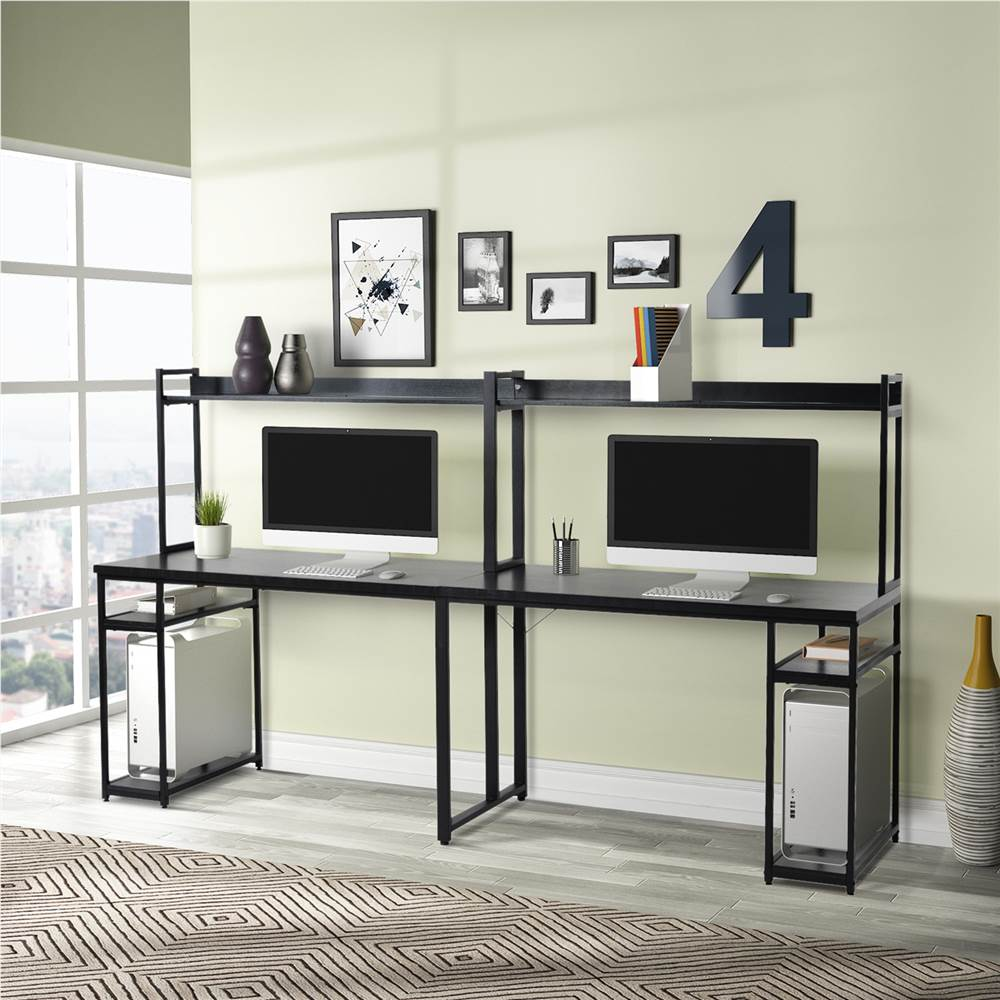 Home office Dual Person Computer Desk with Two-layer Shelf and Open Top Partition - Black