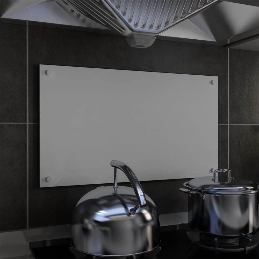 キッチンバックスプラッシュホワイト70x40cm強化ガラス