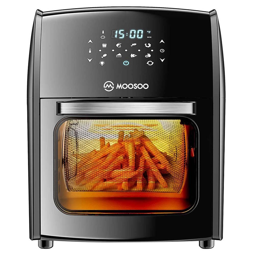 MOOSOOMA30多機能エアフライヤー1700W電源12.7QT容量8プリセットメニュー揚げ物、ベーキング、脱水、焙煎用のLEDデジタルタッチスクリーン-黒