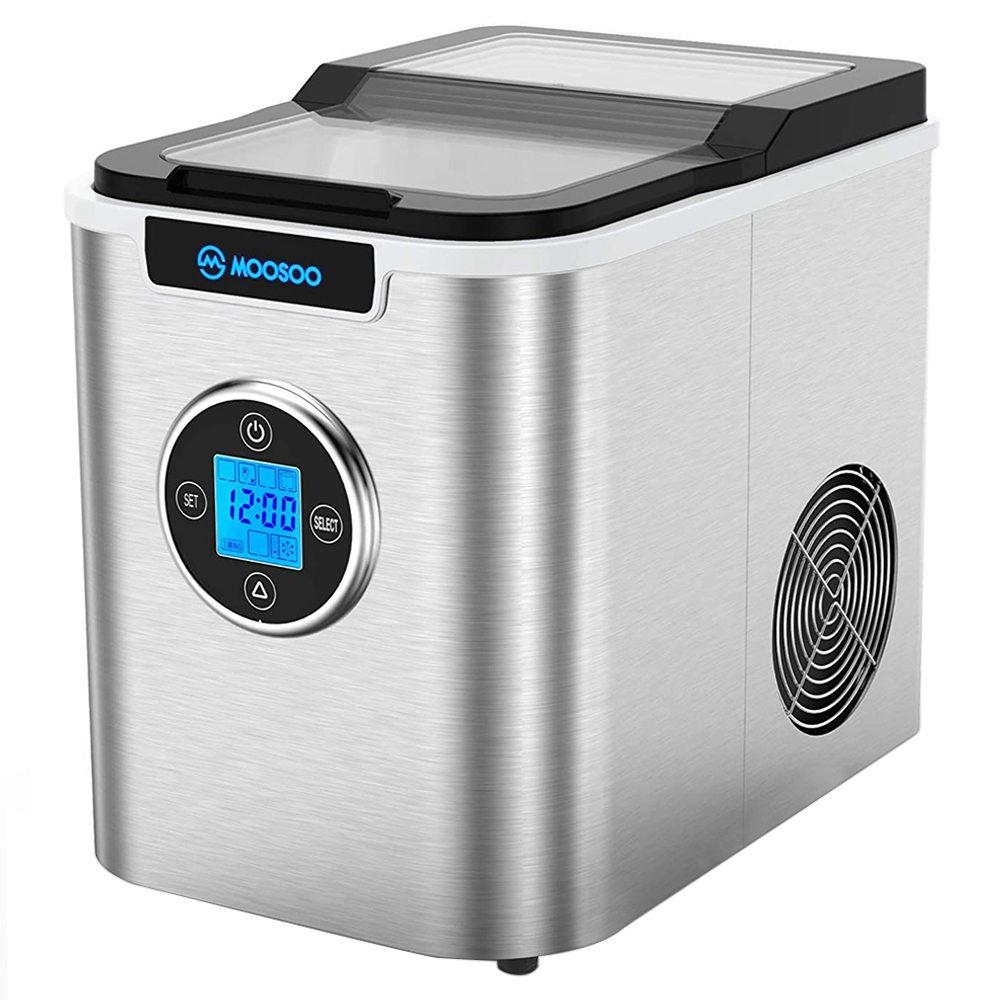 MOOSOOMI10ステンレス製ベンチトップ製氷機3タイプ26lbs / 24H LCDデジタルディスプレイ、自動クリーニング機能付き-シルバー