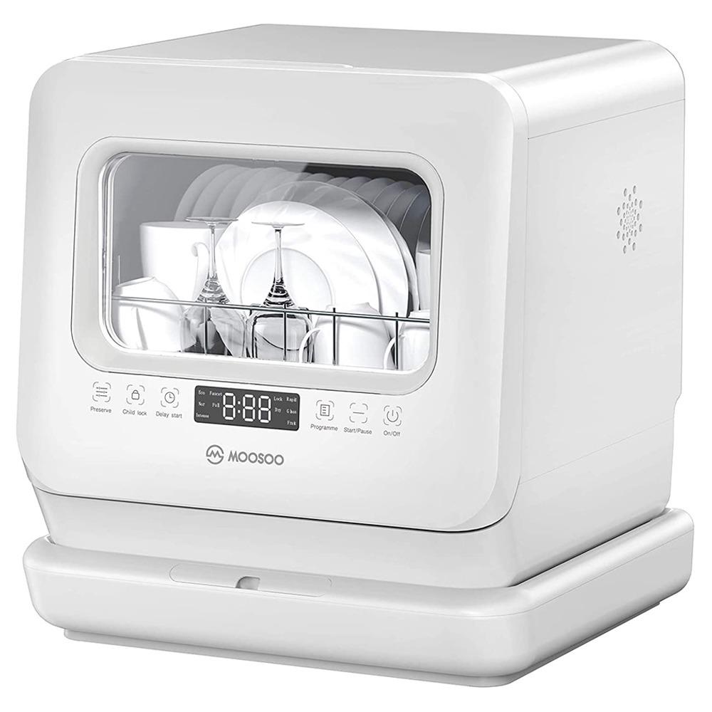 小さな家、寮、アパート、キャンプ、RV用の20Lの独立した水タンクと空気乾燥機能を備えたMOOSOOMX7.5テーブル食器洗い機-ホワイト