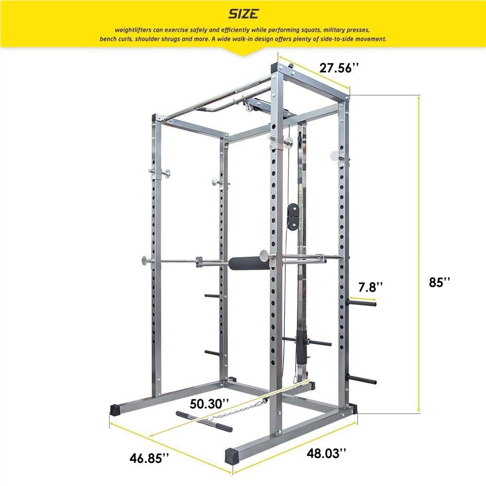 Merax Fitness Power Rack avec Lat Pull Attachment Support de poids Cage de squat d'exercice - Argent