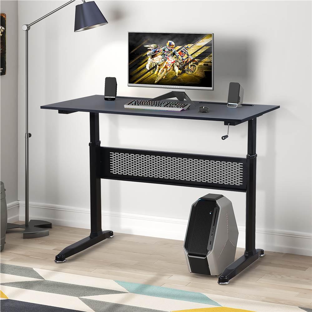 高さ調節可能なハンドル付きのホームオフィススタンディングコンピュータデスク-黒