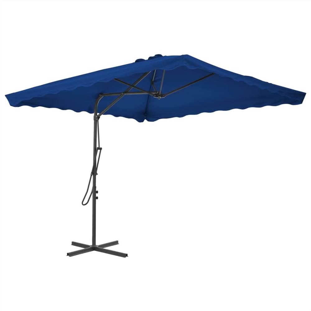 Ombrellone da esterno con palo in acciaio blu 250x250x230 cm