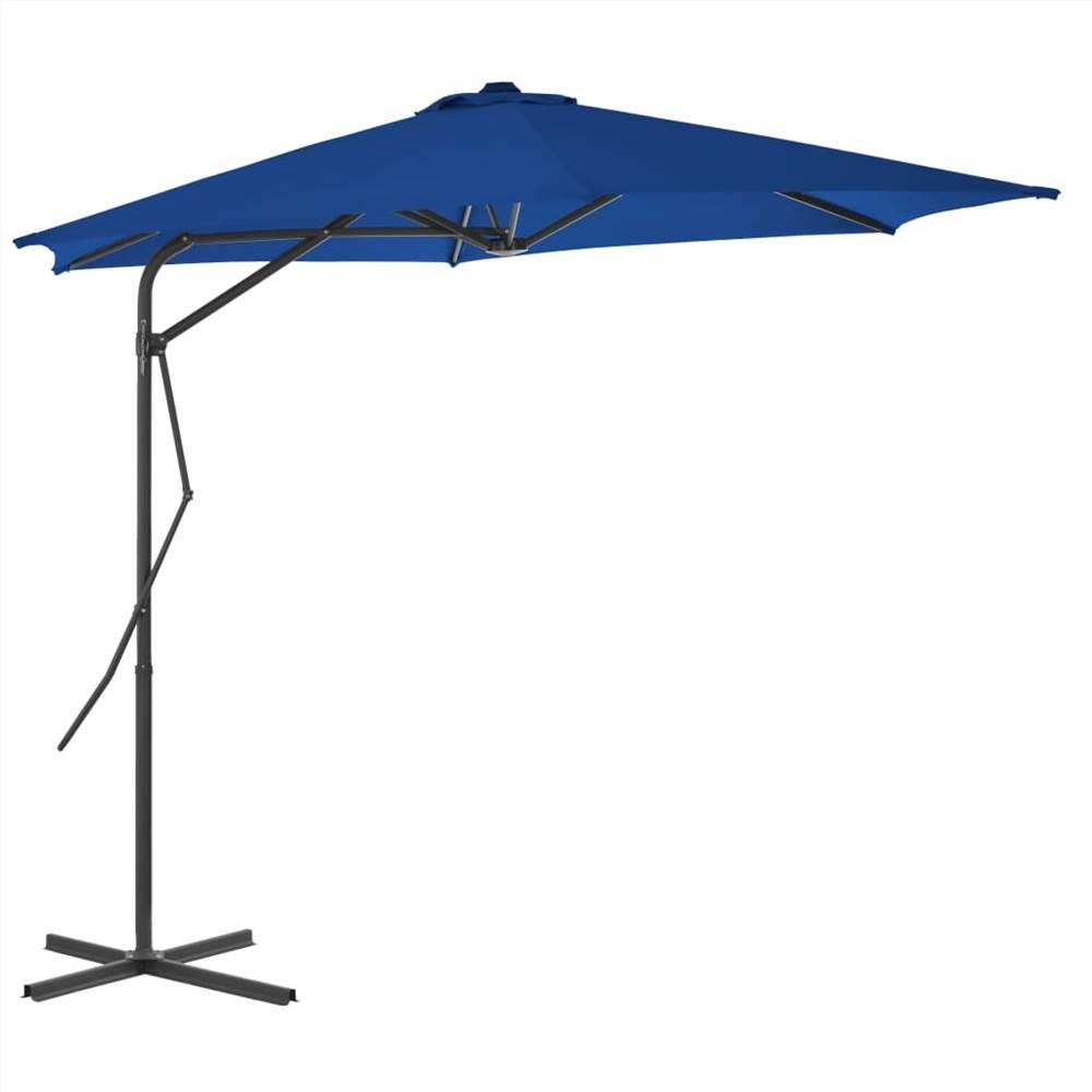 Ombrellone da esterno con palo in acciaio blu 300x230 cm
