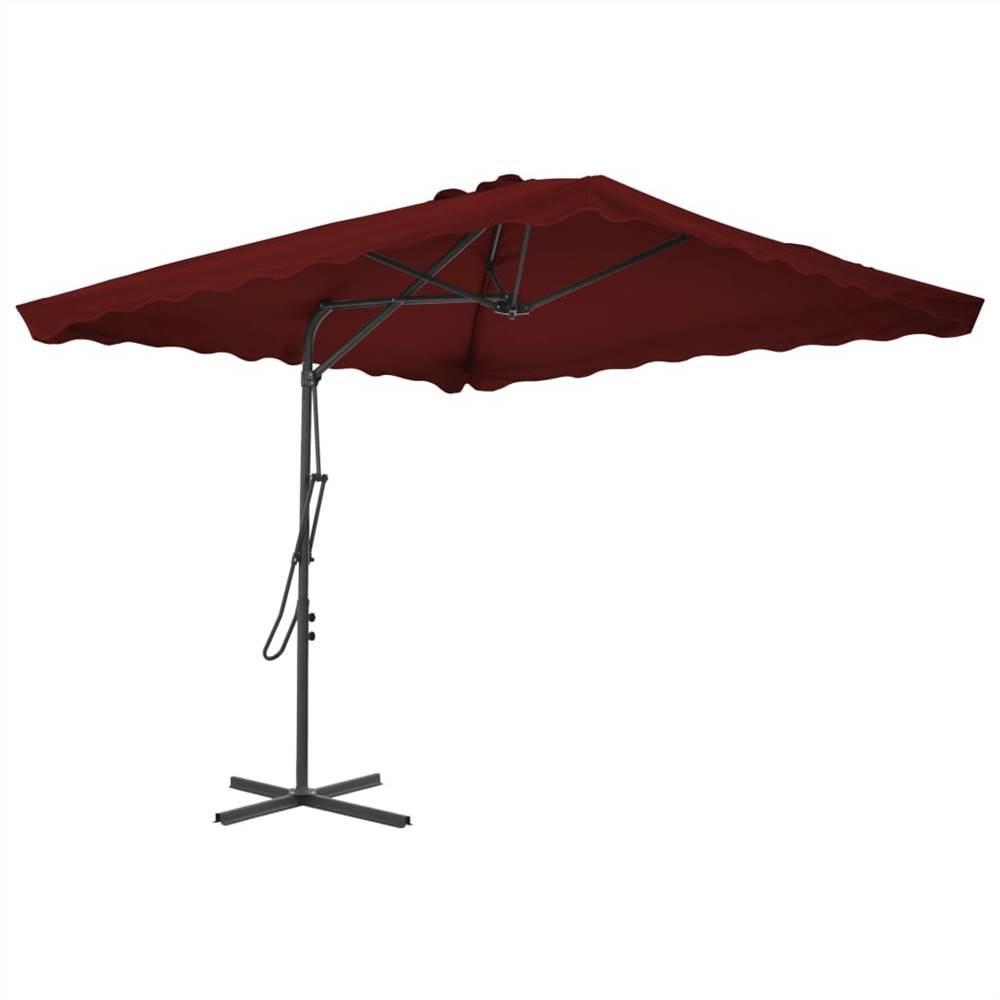 Ombrellone da esterno con palo in acciaio rosso bordeaux 250x250x230 cm