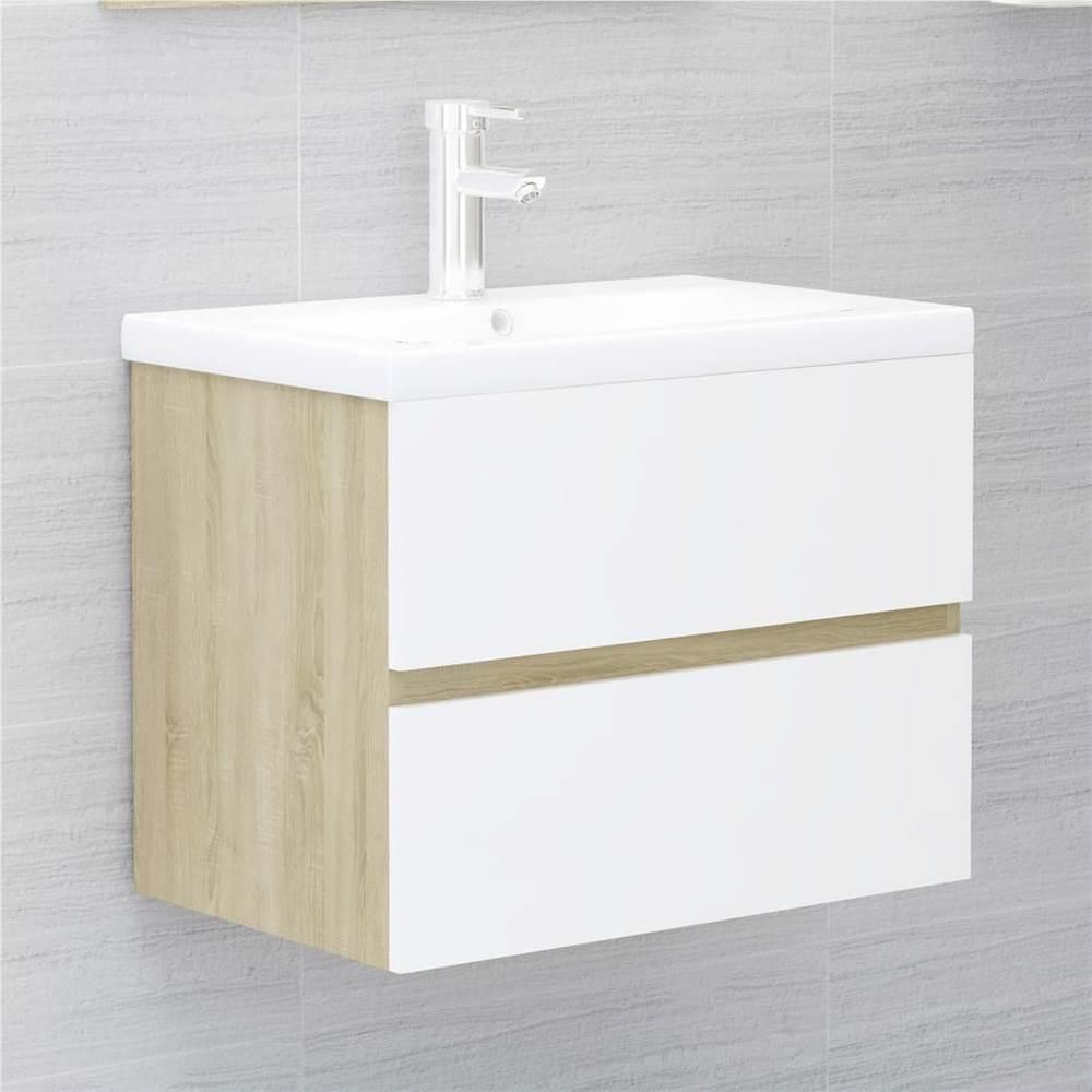 Meuble évier blanc et chêne Sonoma 60x38.5x45 cm aggloméré