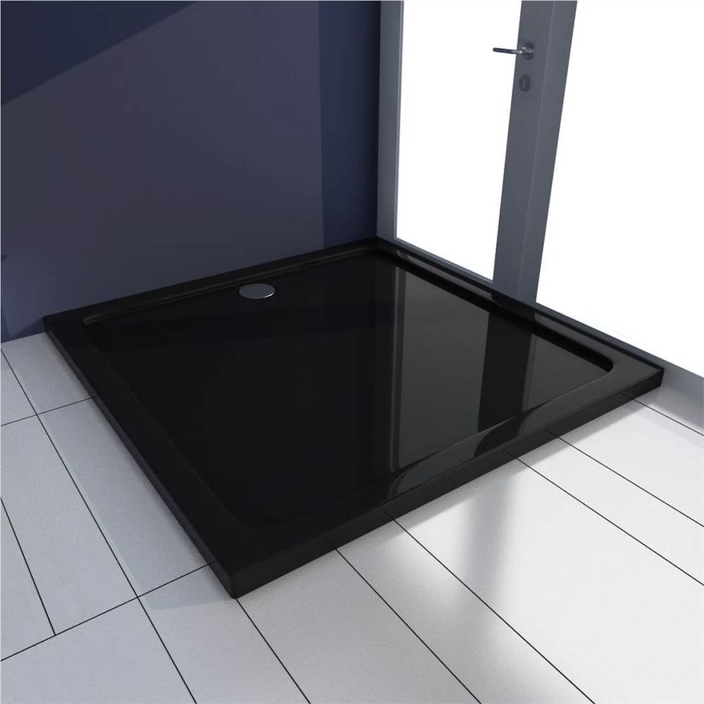 Square ABS Shower Base Tray Black 90 x 90 cm
