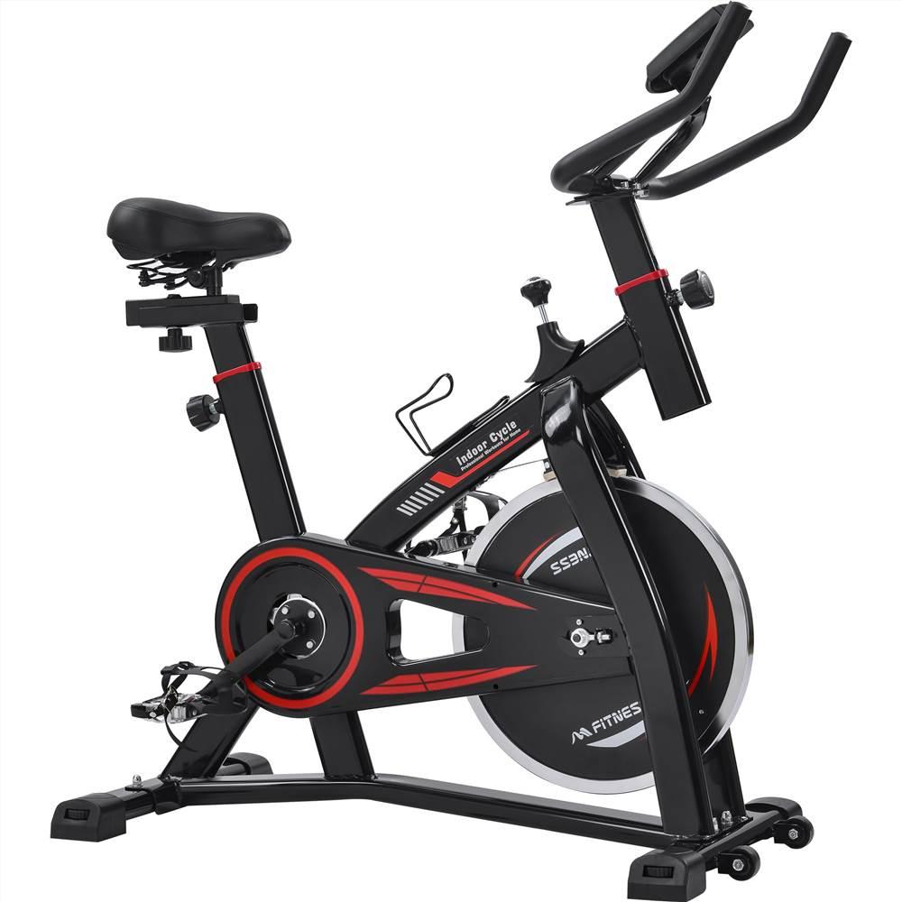 Vélo de cyclisme d'intérieur stationnaire Merax pour entraînement cardio à domicile, vélo d'exercice à entraînement par courroie avec moniteur LCD - noir et rouge