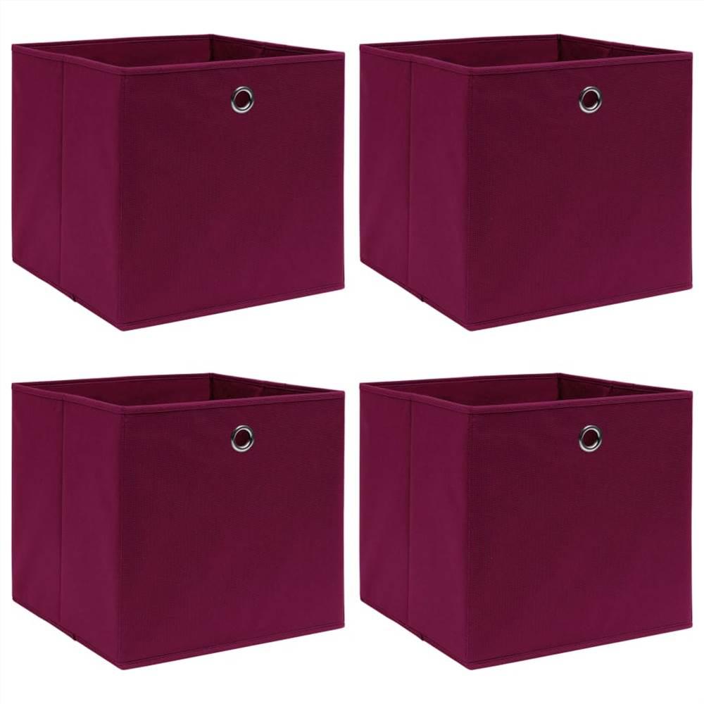 Κουτιά αποθήκευσης 4 τεμ Σκούρο κόκκινο 32x32x32 cm Ύφασμα