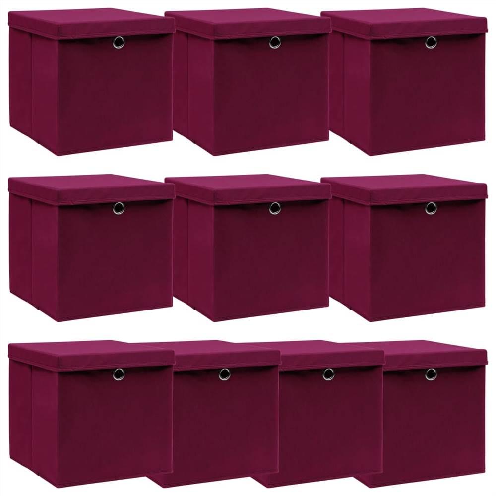 Κουτιά αποθήκευσης με καπάκια 10 τεμάχια Σκούρο κόκκινο ύφασμα 32x32x32 cm
