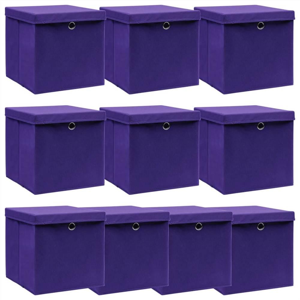 Κουτιά αποθήκευσης με καπάκια 10 τεμ μωβ Ύφασμα 32x32x32 cm