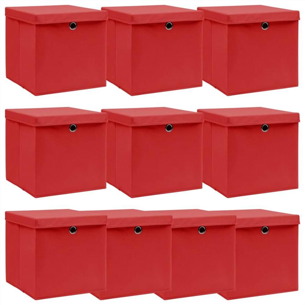 Κουτιά αποθήκευσης με καπάκια 10 τεμ κόκκινο ύφασμα 32x32x32 cm