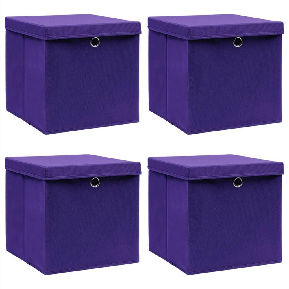 Κουτιά αποθήκευσης με καπάκια 4 τεμ μωβ Ύφασμα 32x32x32 cm