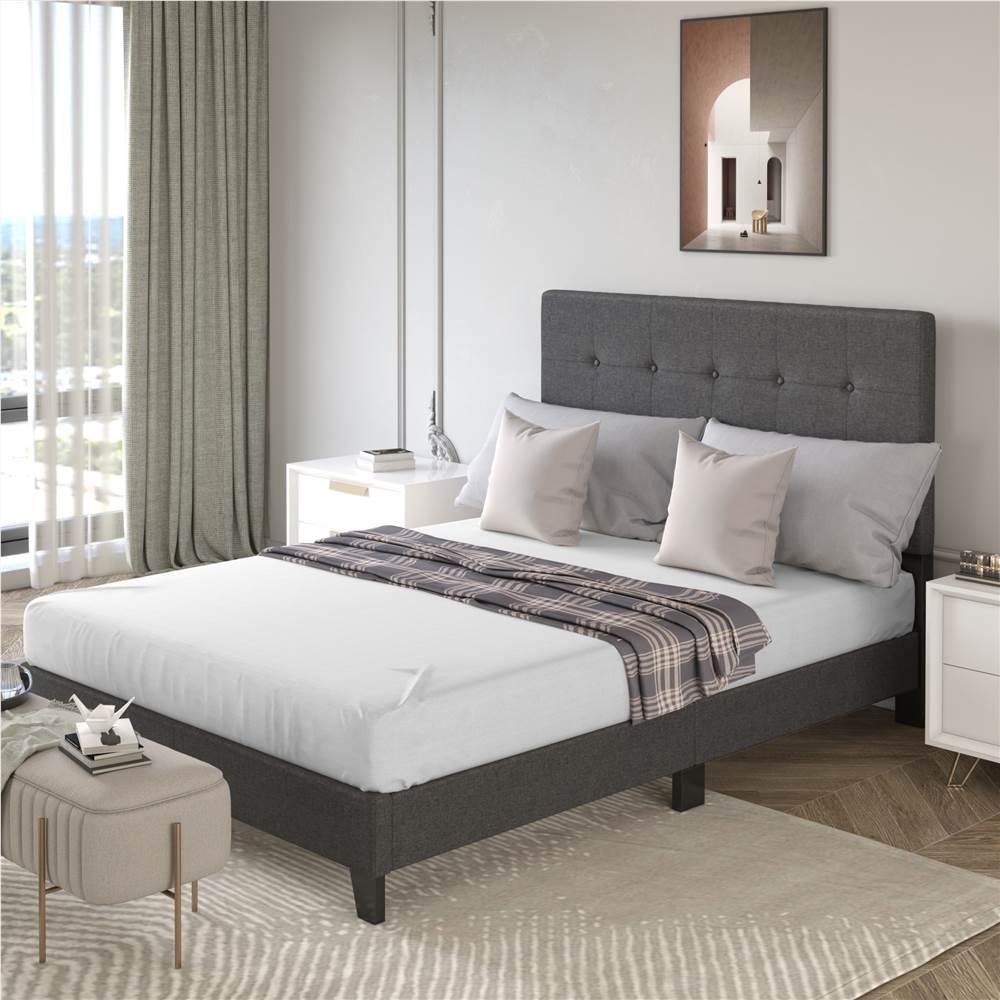 Cadre de lit plateforme rembourré TOPMAX avec support à lattes en bois et tête de lit capitonnée pleine grandeur (cadre seulement) - gris foncé
