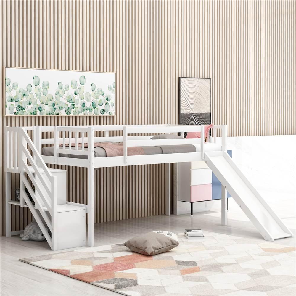Lit mezzanine simple pour enfants avec glissières, escaliers et garde-corps réglables - Blanc