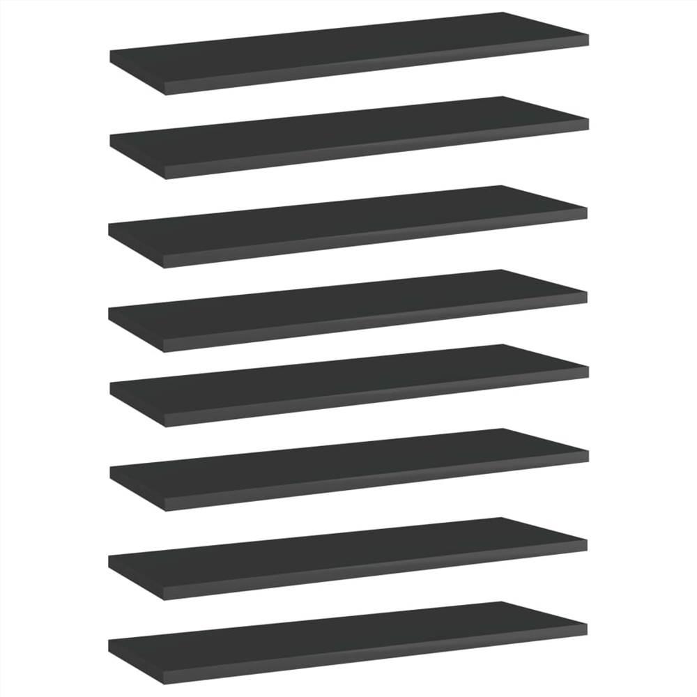 Bookshelf Boards 8 pcs High Gloss Black 60x20x1.5 cm Chipboard