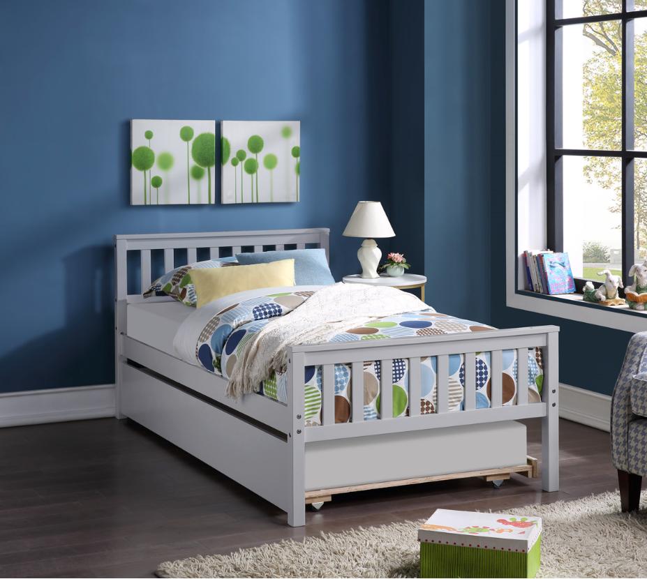 Cadre de lit simple coulissant combiné en pin avec tête de lit et pied de lit - Gris