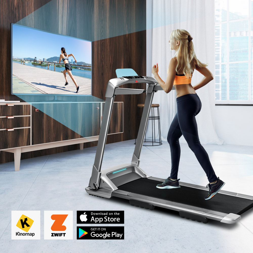 XQIAO OVICX Q2S Inteligentna składana maszyna do biegania do chodzenia Ultra-cienki sprzęt do ćwiczeń na bieżni z inteligentnym zwalnianiem, APP KINOMAP i ZWIFT Video / Coach, wyświetlacz LED od Xiaomi Youpin - wersja UE