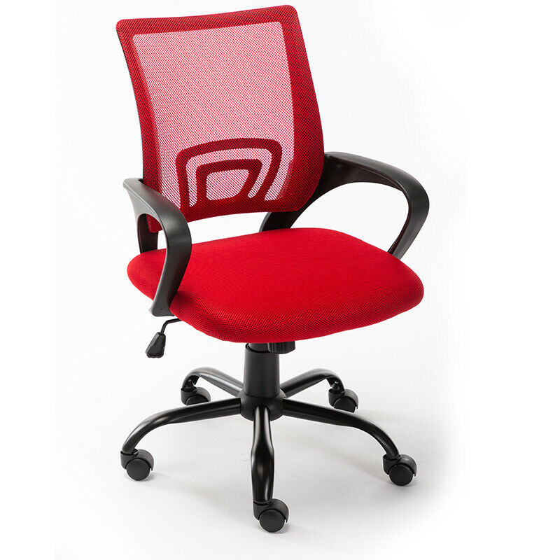 Art Life Home Office Mesh Swivel Chair Adjustable Height with Armrests and Ergonomics Backrest - Red