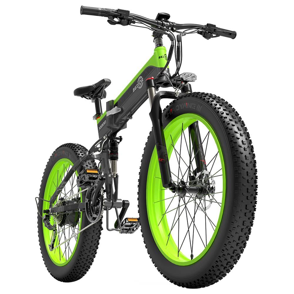 BEZIOR X1000 Складной электрический велосипед Велосипед Panasonic 48V 12.8Ah Аккумулятор 1000W Мотор 26 дюймов Fat Tire Рама из алюминиевого сплава Shimano 27-скоростное переключение Макс.скорость 40 км / ч IP54 100KM Диапазон пробега с усилителем ЖК-дисплей IP54 водонепроницаемый - черный зеленый