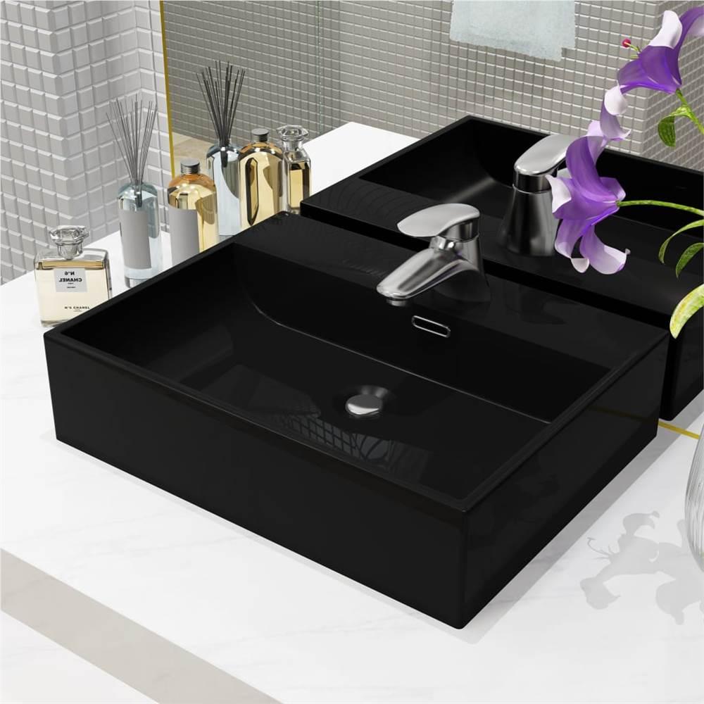 Basin with Faucet Hole Ceramic Black 51.5x38.5x15 cm