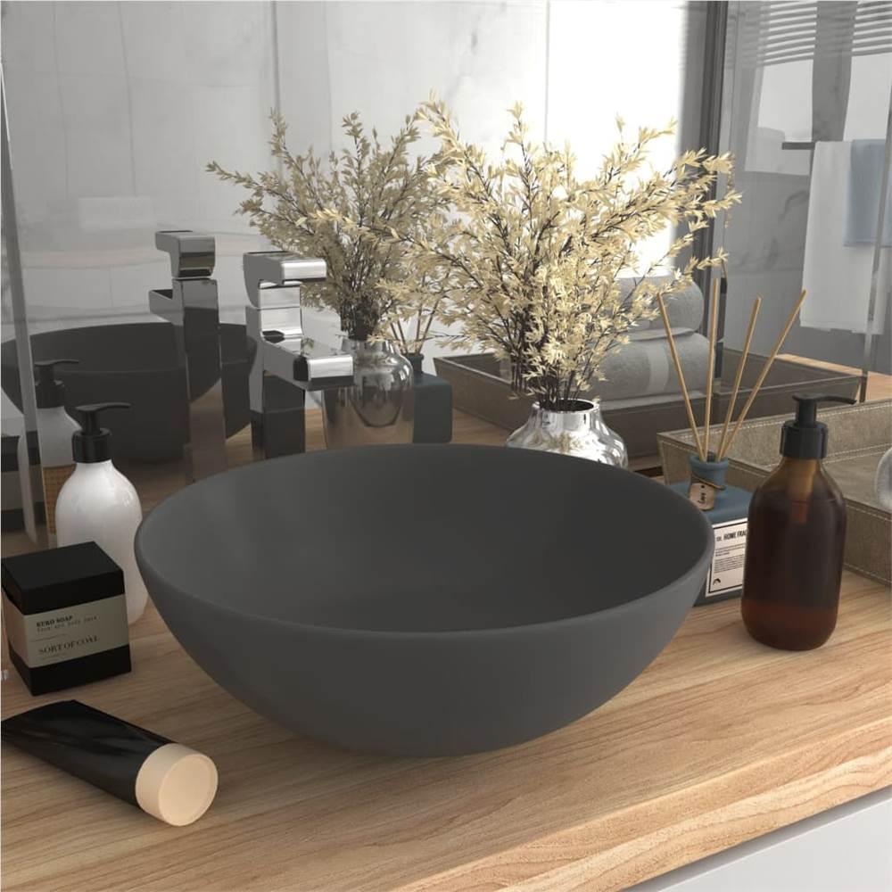 Bathroom Sink Ceramic Light Grey Round