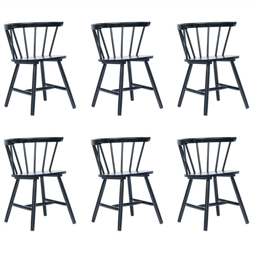 Dining Chairs 6 pcs Black Solid Rubber Wood