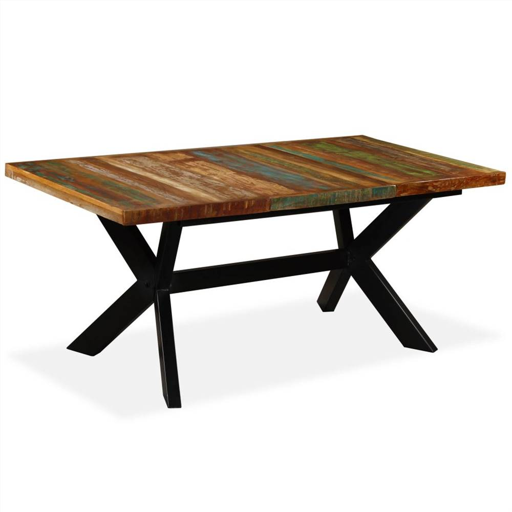 Dining Table Solid Reclaimed Wood and Steel Cross 180 cm