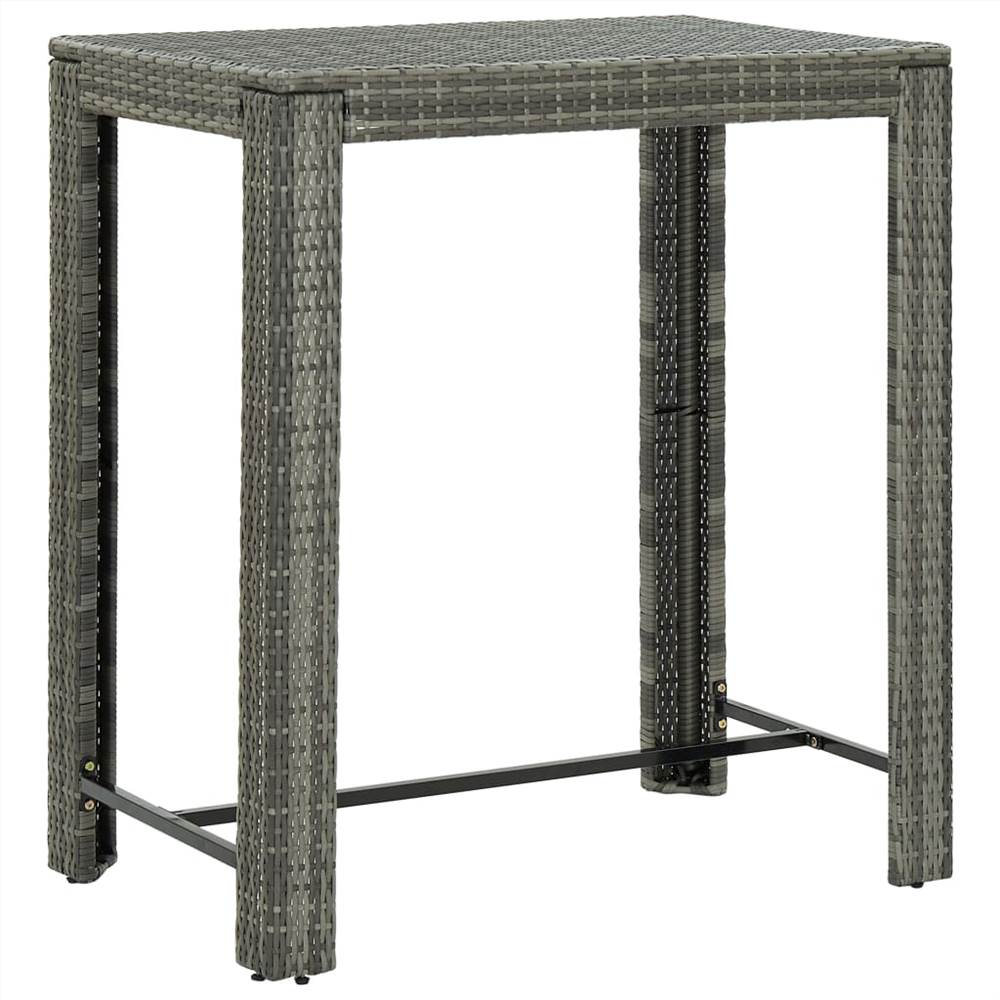 Garden Bar Table Grey 100x60.5x110.5 cm Poly Rattan