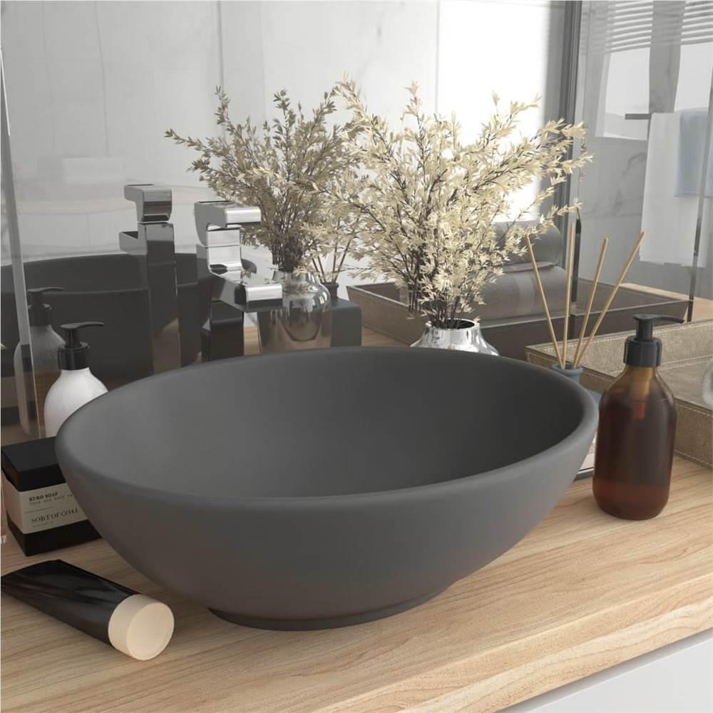 Vasque de Luxe Ovale de Forme Ovale Gris Foncé Mat 40x33 cm Céramique