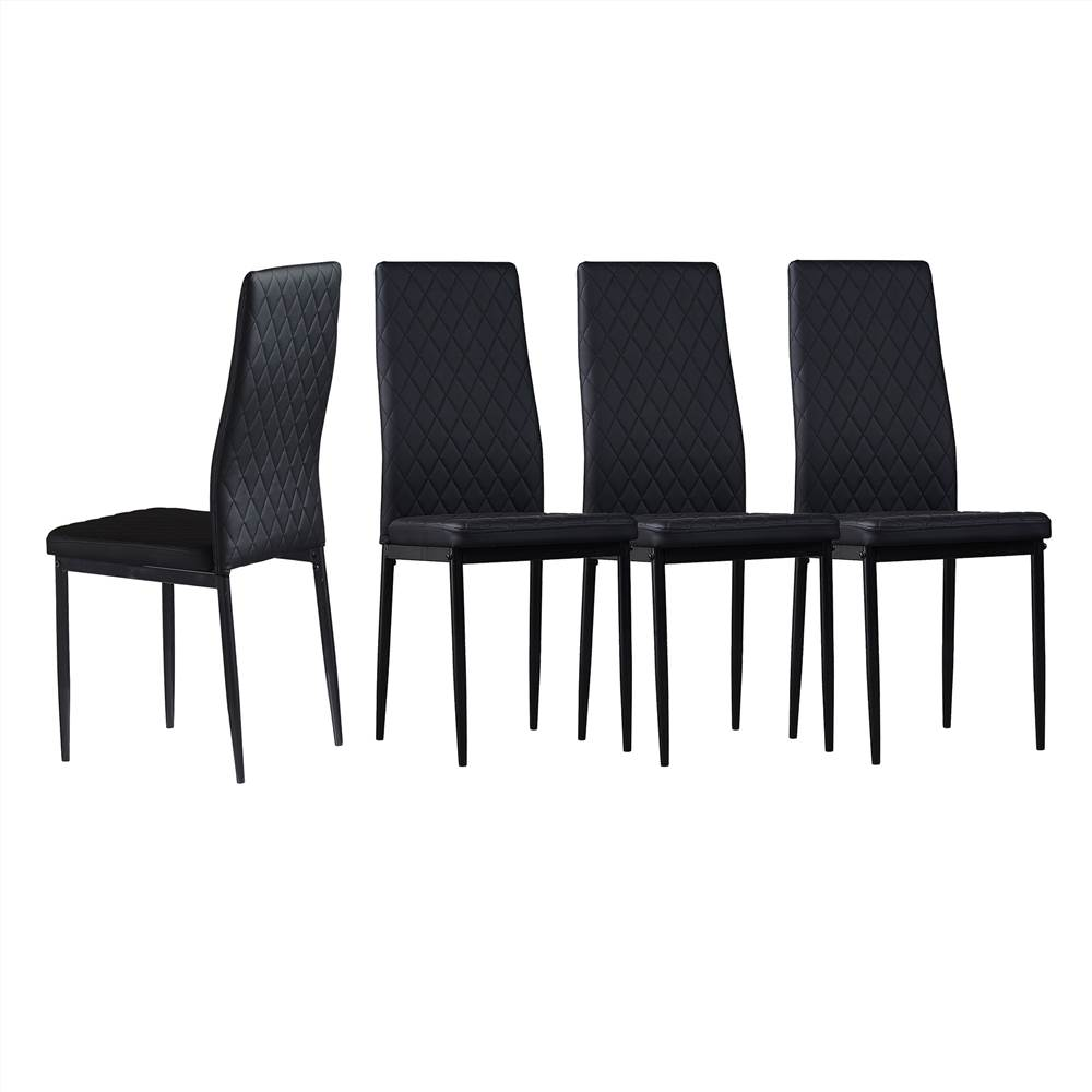 Diamond Grid Pattern Fire-retardant Leather Armless Chair Set of 4, Sprayed Metal Pipe Legs for Kitchen, Living Room, Office, Bedroom - Black