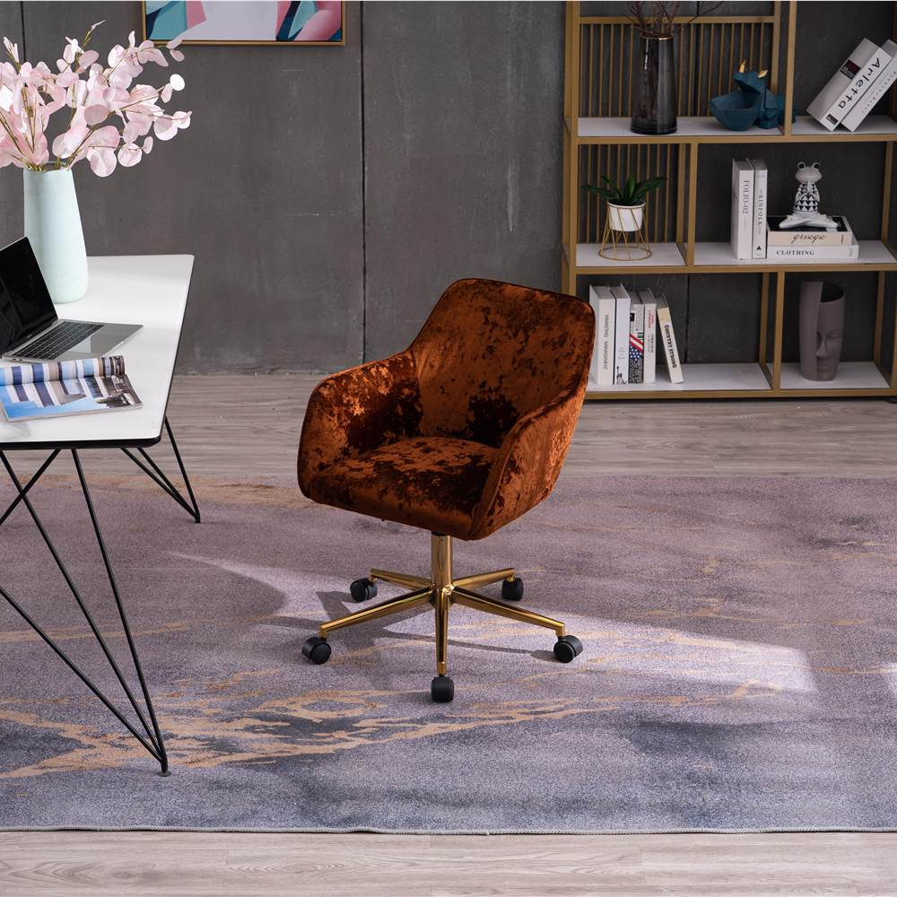 Velvet Rotating Chair Height Adjustable with Curved Backrest and Casters for Living Room, Bedroom, Office - Brown Crush