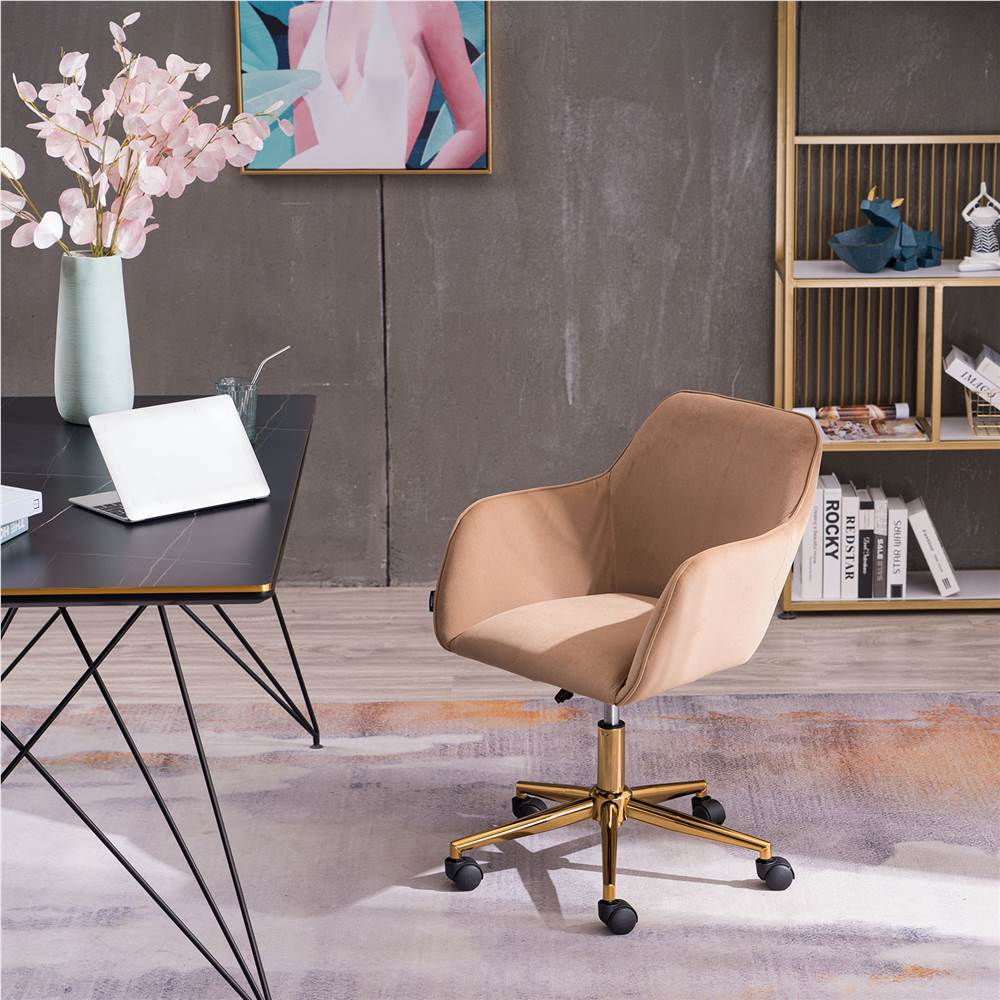 Velvet Rotating Chair Height Adjustable with Curved Backrest and Casters for Living Room, Bedroom, Office - Brown