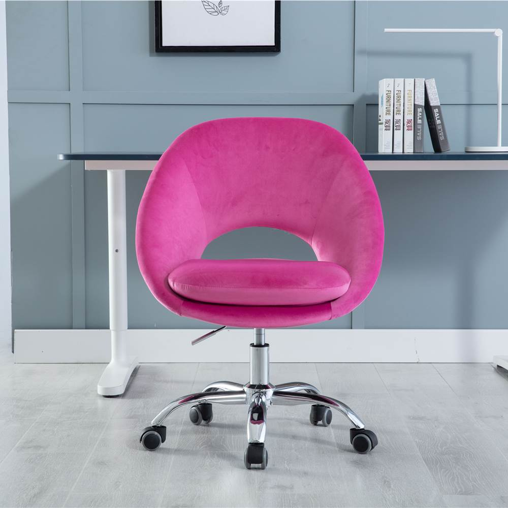 COOLMORE Velvet Rotating Chair Height Adjustable with Curved Backrest and Casters for Living Room, Bedroom, Office - Fuchsia Red