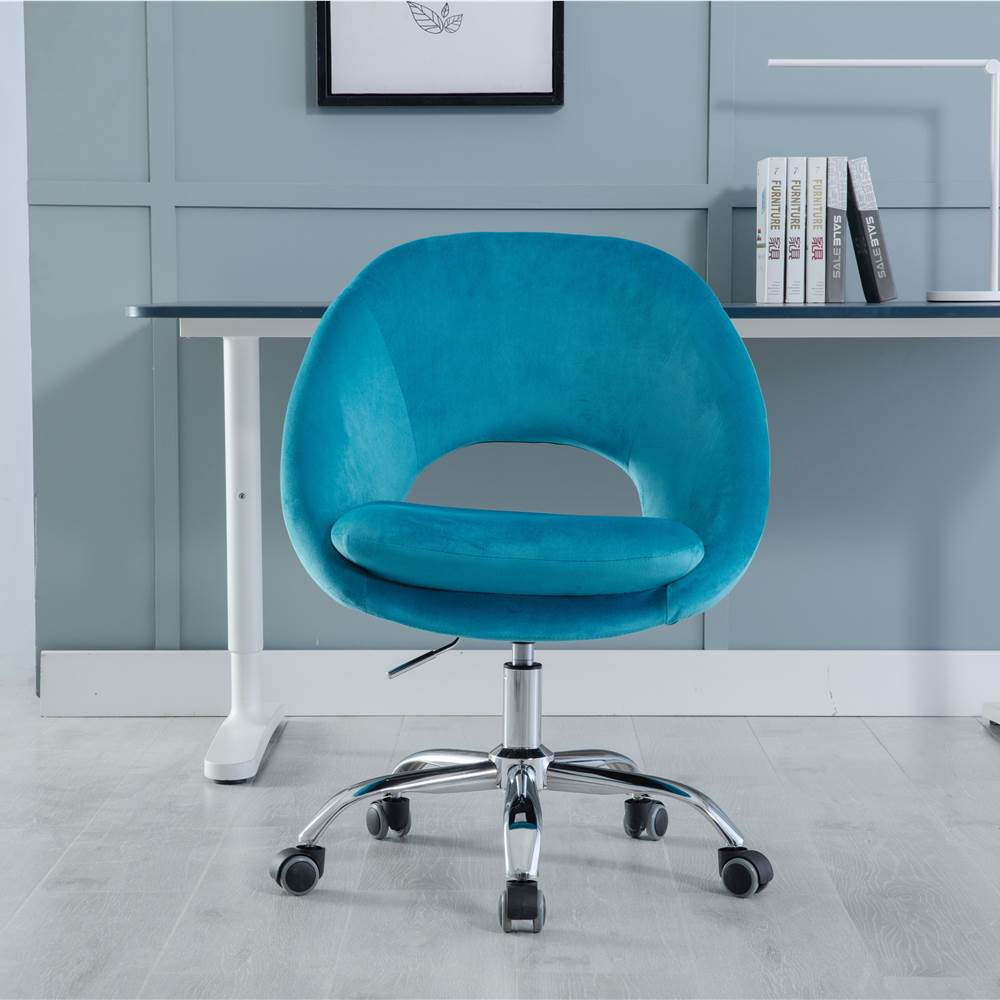 COOLMORE Velvet Rotating Chair Height Adjustable with Curved Backrest and Casters for Living Room, Bedroom, Office - Teal