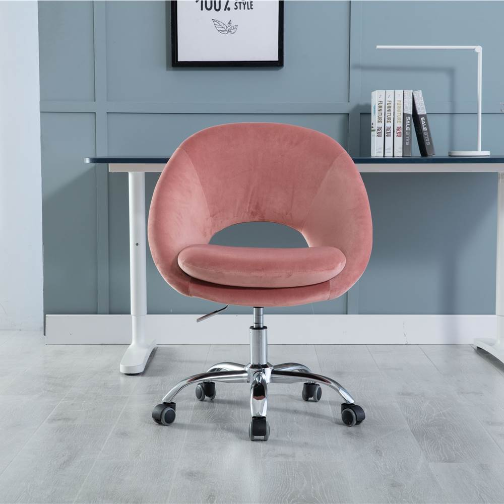 COOLMORE Velvet Rotating Chair Height Adjustable with Curved Backrest and Casters for Living Room, Bedroom, Office - Pink