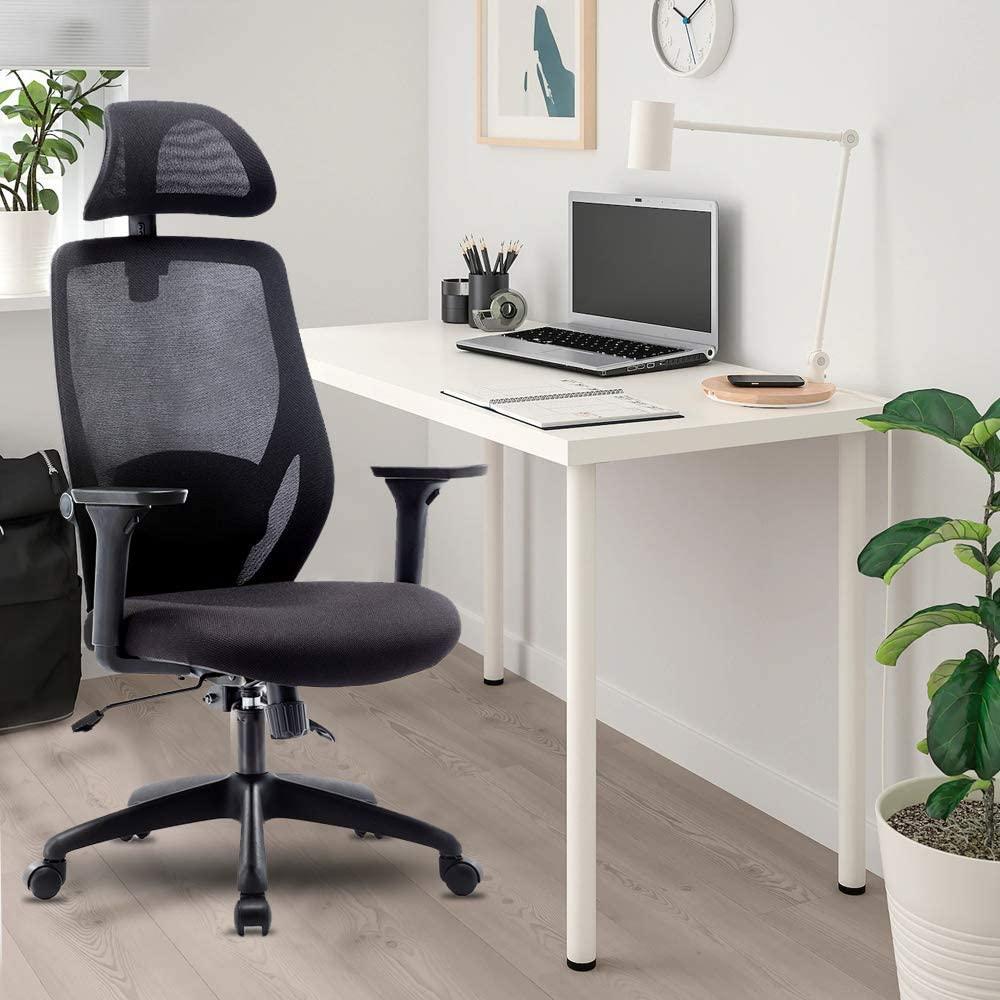 Chaise pivotante en maille pour bureau à domicile réglable en hauteur avec accoudoirs et dossier ergonomique - Noir