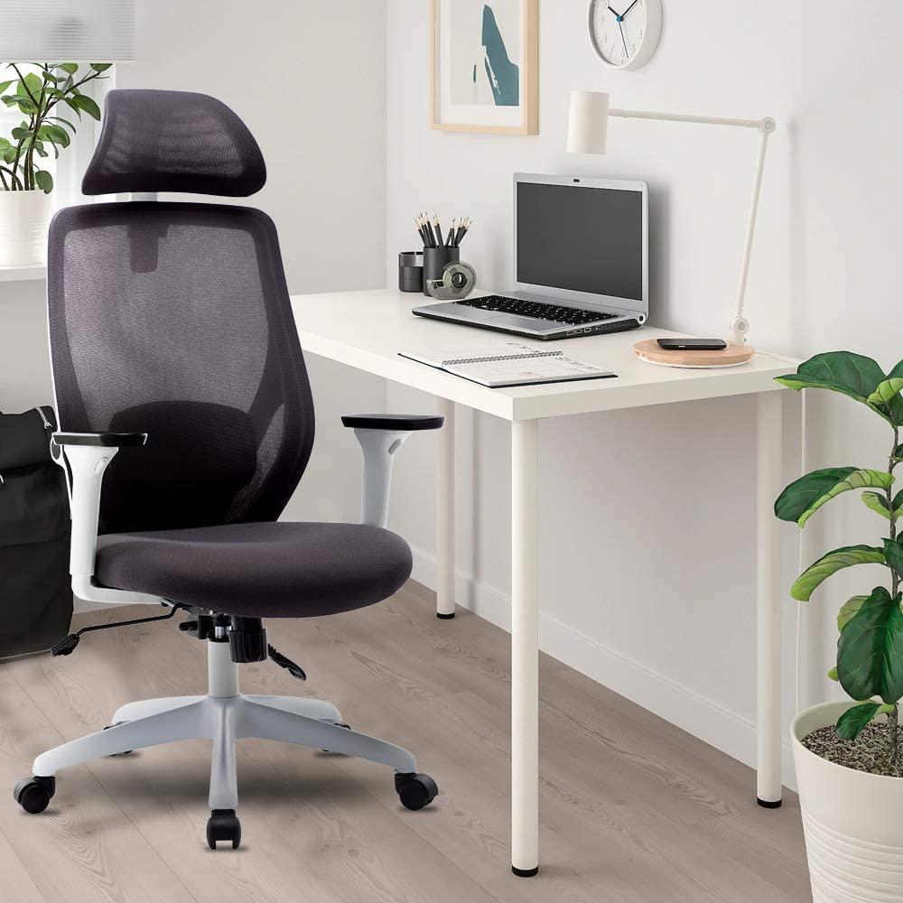 Chaise pivotante en maille pour bureau à domicile réglable en hauteur avec accoudoirs et dossier ergonomique - Blanc