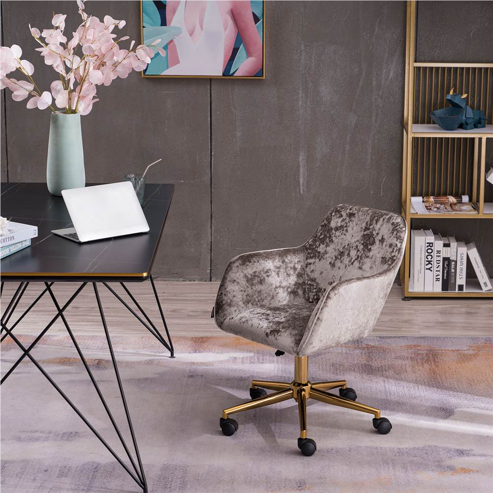 Velvet Rotating Chair Height Adjustable with Curved Backrest and Casters for Living Room, Bedroom, Office - Grey Crush