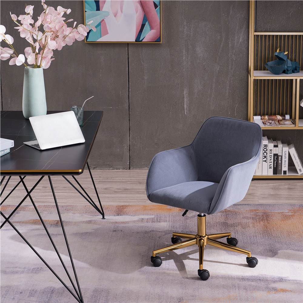 Velvet Rotating Chair Height Adjustable with Curved Backrest and Casters for Living Room, Bedroom, Office - Grey