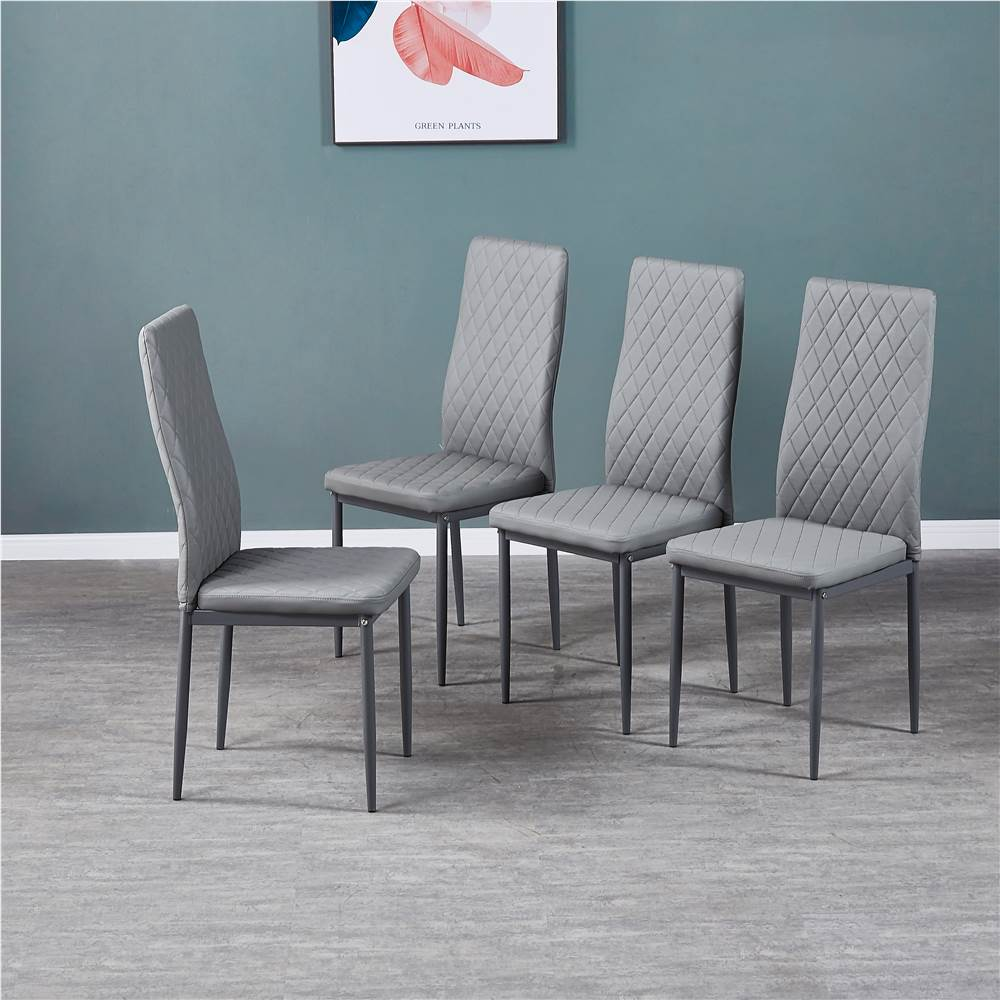 Diamond Grid Pattern Fire-retardant Leather Armless Chair Set of 4, Sprayed Metal Pipe Legs for Kitchen, Living Room, Office, Bedroom - Gray